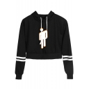 New Popular Puppet Figure Printed Striped Long Sleeve Cropped Casual Hoodie