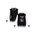 Cute Cartoon Grumpy Cat Letter HOW ABOUT NO Rib Stand Collar Long Sleeve Varsity Baseball Jacket