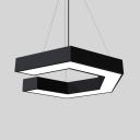 Slim Panel LED Hanging Light Acrylic Metal Black/White Pendant Lamp in White/Yellow for Office