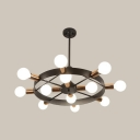 Metal Ring Pendant Lamp 12 Lights American Rustic Chandelier in Black for Living Room