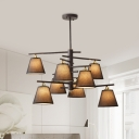 Traditional Tapered Shade Chandelier 4/6/8 Lights Fabric Hanging Light in Black/White for Bedroom