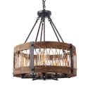 Rustic Style Drum Shade Chandelier 5 Lights Wood Metal Suspension Light in Brown for Cottage