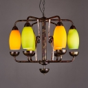 Rustic Style Curved Shade Chandelier Glass Metal 6 Lights Rust Pendant Light for Restaurant KTV
