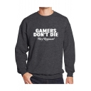 Street Style Letter GAMERS DON'T DIE Print Round Neck Long Sleeve Basic Fitted Sweatshirt