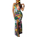 Women's Sexy Halter Plunge Neck Sleeveless Floral Printed Backless Split Side Bodycon Maxi Green Dress