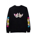 Hot Fashion Cartoon Letter CONTRO TE Print Crewneck Long Sleeve Pullover Sweatshirt