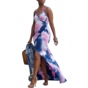 Women's Hot Fashion Halter Neck Sleeveless Tie-dye Printed Split Side Maxi Slip Pink Dress
