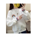 Rainbow Stripe Print Round Neck Long Sleeve Sweatshirt