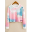 NEW YORK Letter Tie Dye Round Neck Long Sleeve Contrast Trim Cropped Sweatshirt