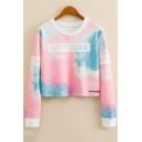 NEW YORK Letter Tie Dye Round Neck Long Sleeve Contrast Trim Cropped Sweatshirt