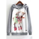 Cartoon Christmas Elk Printed Colorblock Raglan Long Sleeve Drawstring Hoodie