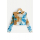 Tie Dye Printed Drawstring Hood Long Sleeve Cropped Hoodie