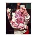 Ethnic Geometric Print Round Neck Long Sleeve Fleece Sweatshirt