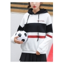 SOULPTORI Letter Colorblock Striped Printed Drawstring Long Sleeve Hoodie