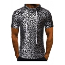 Men's Fashion Silver Leopard Printed Drawstring Funnel Neck Short Sleeve Slim T-Shirt