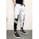 Guys New Fashion Colorblock Striped Printed Drawstring Waist Slim Fit Cargo Pants