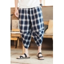 Mens New Stylish Retro Plaid Printed Drawstring Waist Baggy Cropped Bloomers Pants