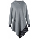 Womens Fancy Polka Dot Print Patched Hem Long Sleeve Grey Longline Asymmetric Hoodie