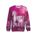 Women's Stylish Red Unicorn Printed Round Neck Long Sleeve Sweatshirt