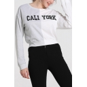 Fashion Grey and White Colorblocked Letter CALI YORK Printed Cropped Sweatshirt