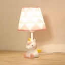 Lovely Pink Table Light Tapered Shade 1 Light Resin Reading Light with Unicorn for Girl Bedroom