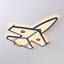 Cartoon Airplane LED Flush Light Cool Metal Ceiling Lamp in Warm/White for Child Bedroom