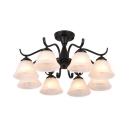 Vintage Style Ceiling Lamp Bell 8 Lights Frosted Glass Semi Flush Light for Room