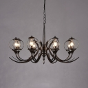 Metal Candle Shape Pendant Lamp Restaurant Dining Room 6 Lights Traditional Chandelier