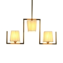 Fabric Trapezoid Shade Hanging Light 3 Lights Modern Island Light in Gold for Living Room
