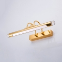 Gold Tube LED Wall Lamp Anti-fogging Metal Sconce Light with White Lighting for Makeup Table