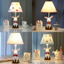 Cute Bow Rabbit LED Desk Lamp Resin 1 Light Eye-Caring White Study Light for Girl Bedroom