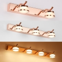 Rose Gold Waterproof Wall Light 2/3/4 Lights Modern Stainless Steel LED Vanity Light for Makeup Table