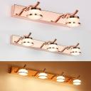 Rose Gold Waterproof Wall Light 2/3/4 Lights Modern Stainless Steel LED Vanity Light for Makeup Table