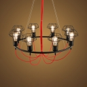 Metal Wire Frame Ceiling Pendant 8 Lights Industrial Suspension Light in Black for KTV Bar