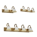 Waterproof Brass LED Vanity Light Bell Shade 2/3/4 Lights Opal Glass Wall Sconce for Bathroom
