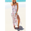 Womens Summer Trend Floral Striped Pattern V-Neck Strapless Split Front Maxi Beach Dress