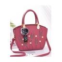 Glamorous Printed Pearl Plush Ball Ribbon Embellishment Work Tote Bag 24*13*22 CM