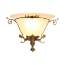 Bedroom Bell Shade Wall Light Frosted Glass 1 Light Colonial Style White Engraved Sconce Light