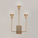 Colonial Style Bell Shade Sconce Light 3 Lights Metal Wall Light in Brass for Living Room Hotel