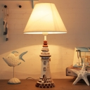 Fabric Conical Night Table Light Cartoon 1 Light White Nightstand Lamp with Lighthouse Base