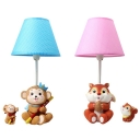 1 Light Monkey/Squirrel Desk Light Cartoon Resin Dimmable Eye-Caring Reading Light in Blue/Pink for Baby Room