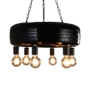 Antique Bare Bulb Suspension Light with Motor Tyre 6 Lights Rubber Chandelier for Shop