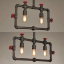 Restaurant Bare Bulb Hanging Light with Water Pipe Metal 2/3 Lights Vintage Style Bronze Island Light