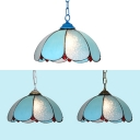Blue Petal Pendant Light 1 Light Tiffany Style Glass Ceiling Lamp for Living Room