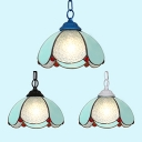 Glass Bowl Shade Hanging Lamp Study Room 1 Light Tiffany Style Modern Pendant Light in Black/Blue/White