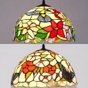 1 Light Bird/Butterfly Ceiling Pendant Rustic Style Stained Glass Pendant Light for Study Room