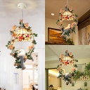 Cafe Floral Theme Pendant Light Glass 1 Light Rustic Style Ceiling Lamp with Pigeon & Plant