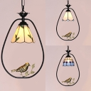 Bloom/Grid/Leaf Pendant Light with Bird 1 Light Tiffany Rustic Glass Ceiling Lamp for Bathroom