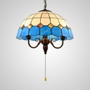 Restaurant Dome Pendant Light Glass 3 Lights Mediterranean Style Hanging Light with Pull Chain