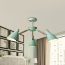 Metal Horn Shade Chandelier 3 Lights Macaron Loft Suspension Light in Gray/Green for Child Bedroom